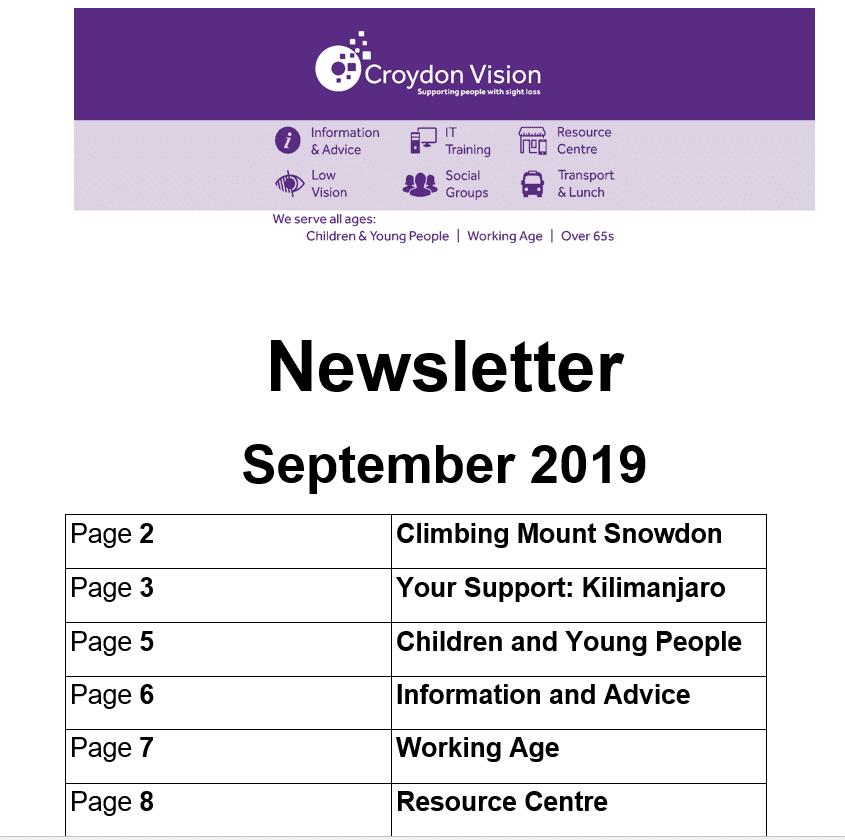 Croydon Vision Newsletter September 2019 - CroydonVision