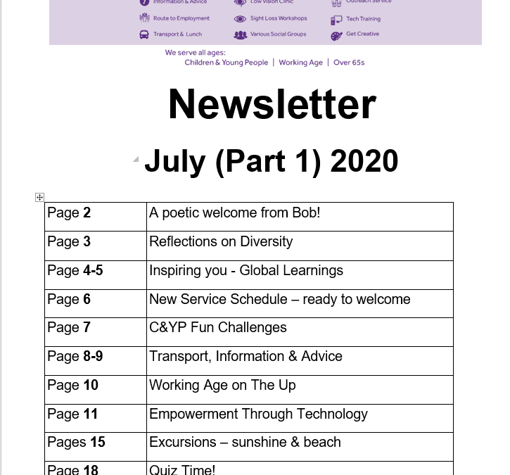 July Newletter (Part 1) 2020